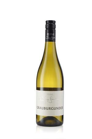 Weinflasche Grauburgunder. Eine Symbiose aus Granit Äpfel und Birnen.